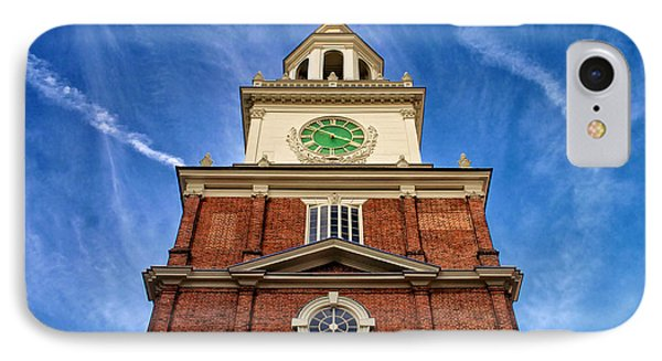 Independence Hall Clock Tower IPhone Case by Mark Miller