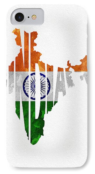 India Typographic Map Flag IPhone Case by Ayse Deniz