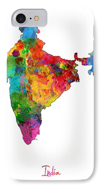 India Watercolor Map IPhone Case by Michael Tompsett