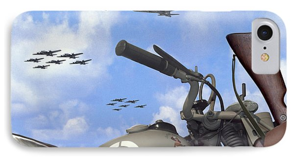 Indian 841 And The B-17 Bomber Sq IPhone Case by Mike McGlothlen