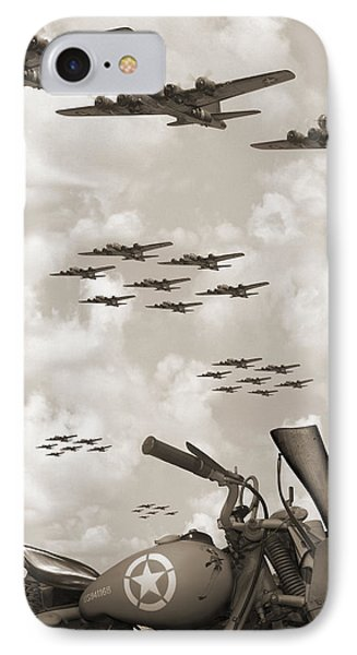 Indian 841 And The B-17 Panoramic Sepia IPhone Case by Mike McGlothlen