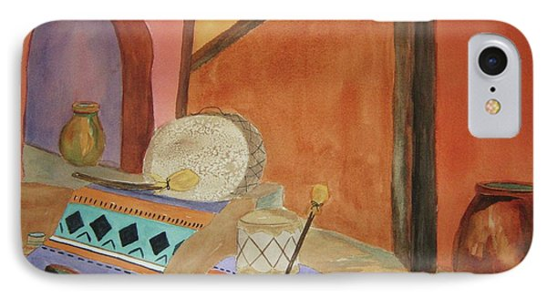 IPhone Case featuring the painting Indian Blankets Jars And Drums by Ellen Levinson