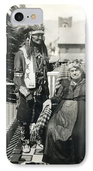 IPhone Case featuring the photograph Indian Chief And Woman by Charles Beeler