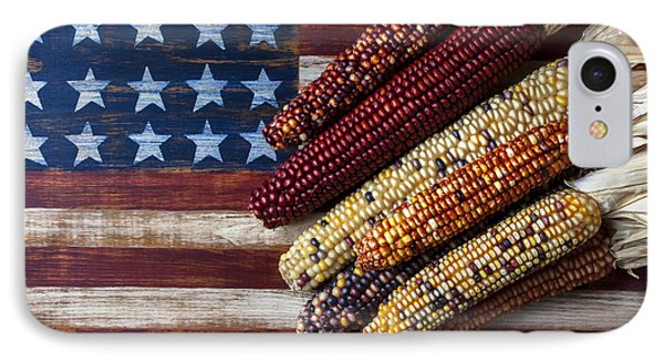 Indian Corn On American Flag IPhone 7 Case by Garry Gay