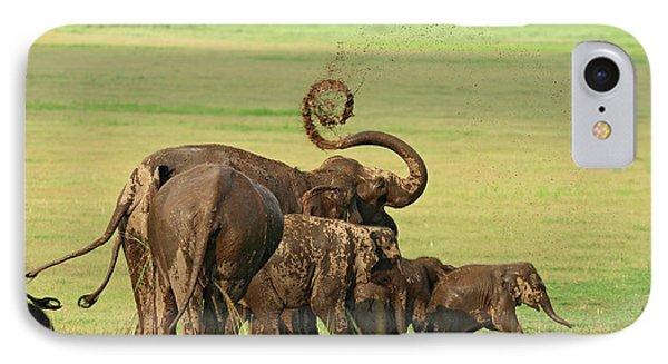 Indian Elephants Mud Bathing,corbett IPhone Case by Jagdeep Rajput