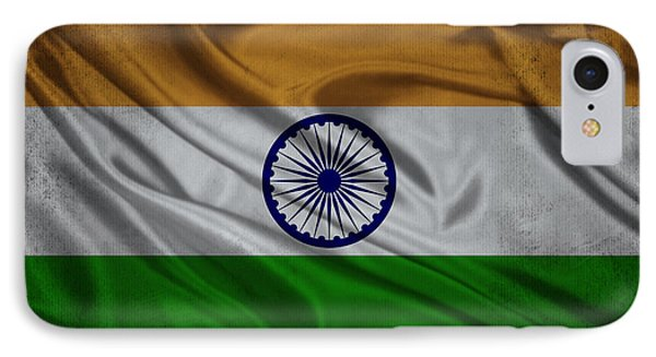 Indian Flag Waving On Aged Canvas IPhone Case by Eti Reid