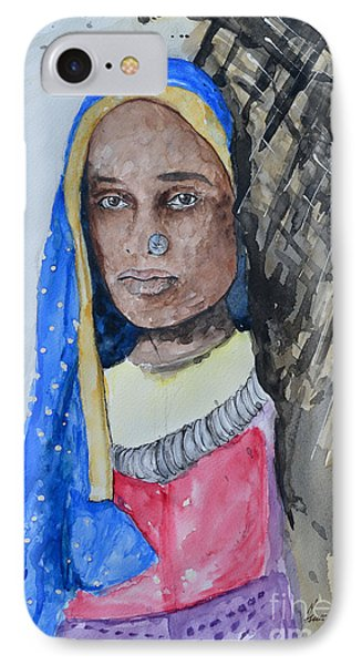 IPhone Case featuring the painting Indian Girl by Ismeta Gruenwald