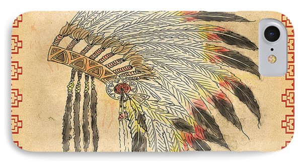 Indian Head Dress-a IPhone Case by Jean Plout