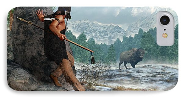 Indian Hunting With Atlatl IPhone Case