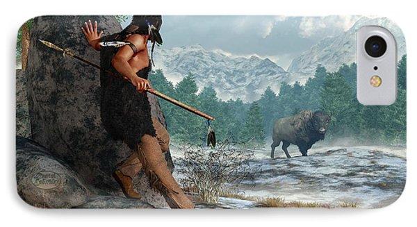 Indian Hunting With Atlatl IPhone Case by Daniel Eskridge