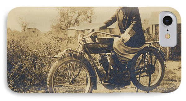 IPhone Case featuring the photograph Indian Motorcycle Woman Rider by Paul Ashby Antique Images