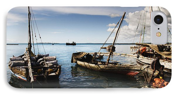 IPhone Case featuring the photograph Indian Ocean Dhow At Stone Town Port by Amyn Nasser