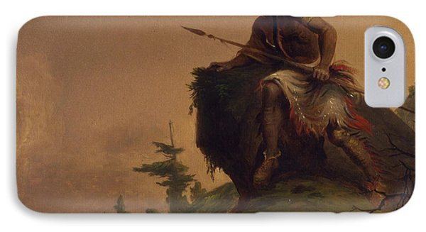 Indian On A Cliff IPhone Case by Jesse Talbot