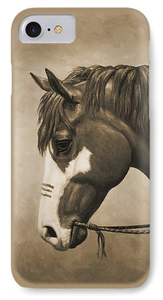 Indian Pony War Horse Sepia Phone Case IPhone Case by Crista Forest
