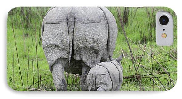 Indian Rhinoceros And Week Old Calf IPhone Case by Suzi Eszterhas