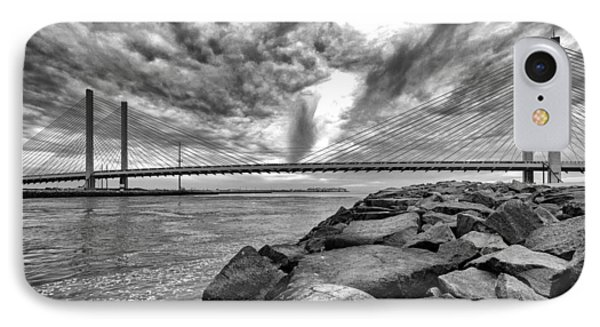 Indian River Bridge Clouds Black And White IPhone Case by Bill Swartwout