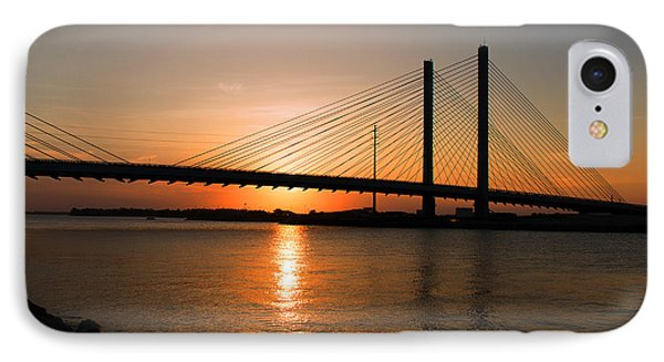 Indian River Bridge Sunset Reflections IPhone Case by Bill Swartwout