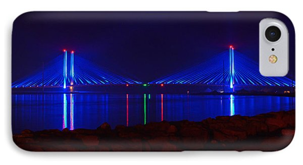 Indian River Inlet Bridge After Dark IPhone Case by Bill Swartwout