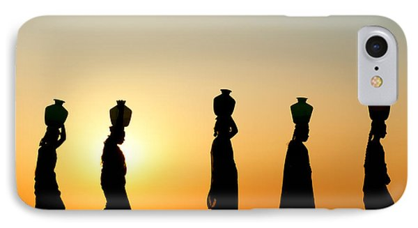 Indian Women Carrying Water Pots At Sunset IPhone Case by Tim Gainey