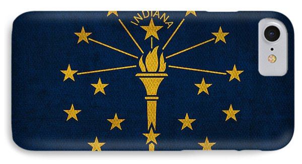 Indiana State Flag Art On Worn Canvas IPhone Case