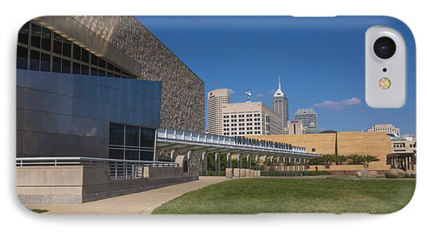 Indiana State Museum And Indianapolis Skyline Phone Case by David Haskett