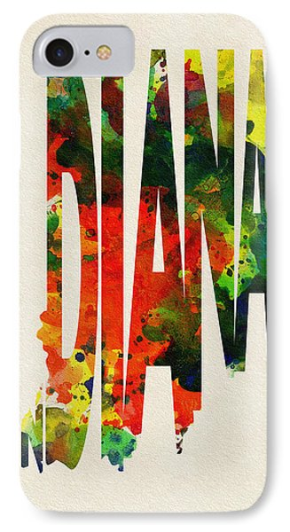 Indiana Typographic Watercolor Map IPhone Case by Ayse Deniz