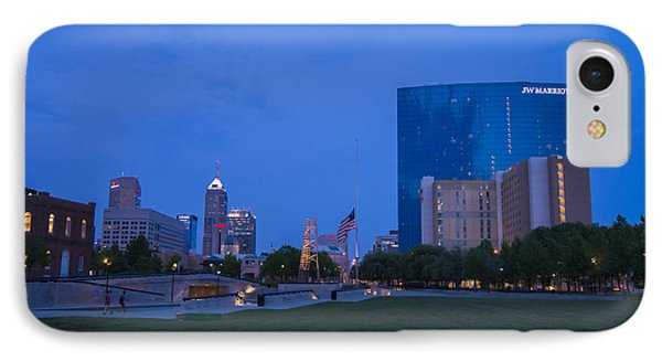 Indianapolis Blue Hour Skyline Phone Case by David Haskett
