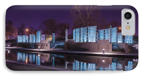 Indianapolis Canal Walk Medal Of Honor Memorial Night Lights IPhone Case by David Haskett
