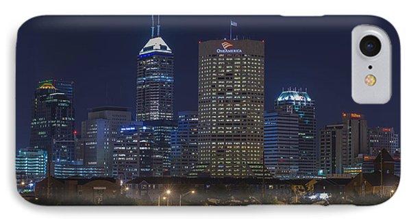 Indianapolis Indiana Night Skyline Blue IPhone Case by David Haskett
