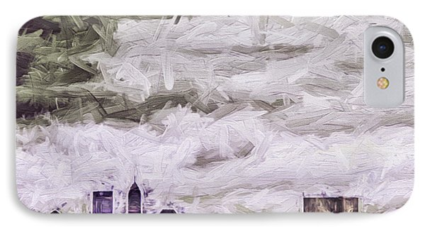 Indianapolis Indiana Skyline Digitally Painted Purple 1 IPhone Case by David Haskett