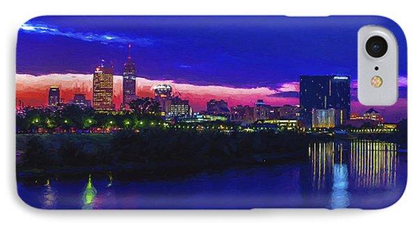 Indianapolis Indiana Skyline Sunrise Digitally Painted IPhone Case by David Haskett