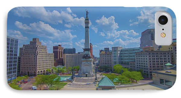 Indianapolis Monument Circle Oil IPhone Case by David Haskett