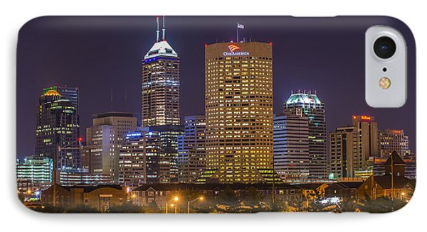 Indianapolis Night Skyline Echo IPhone Case by David Haskett