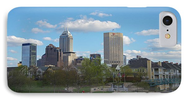 Indianapolis Skyline Blue 2 IPhone Case by David Haskett