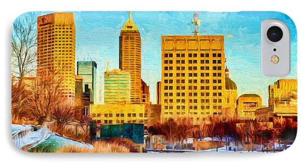 Indianapolis Skyline Canal View Digital Painting IPhone Case by David Haskett