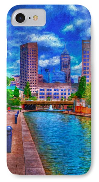 Indianapolis Skyline Canal View Digitally Painted Blue IPhone Case by David Haskett
