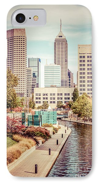 Indianapolis Skyline Old Retro Picture IPhone Case by Paul Velgos