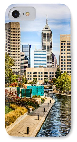 Indianapolis Skyline Picture Of Canal Walk In Autumn IPhone 7 Case by Paul Velgos