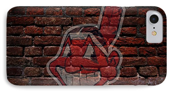 Indians Baseball Graffiti On Brick  IPhone Case by Movie Poster Prints