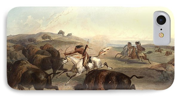 Indians Hunting The Bison Phone Case by Karl Bodmer