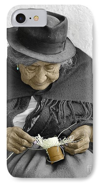Indigenous Straw Weaver IPhone Case by Al Bourassa