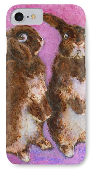 IPhone Case featuring the painting Indignant Bunny And Friend by Richard James Digance