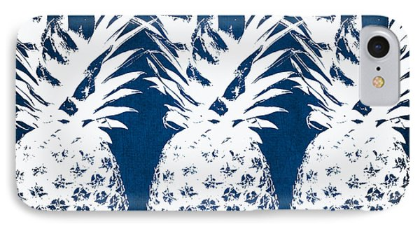 Nature iPhone 7 Case - Indigo And White Pineapples by Linda Woods