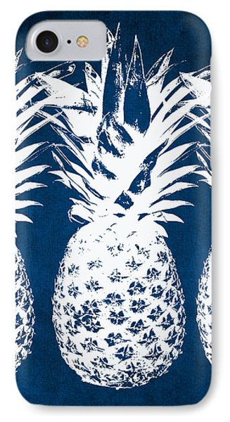 Indigo And White Pineapples IPhone 7 Case by Linda Woods