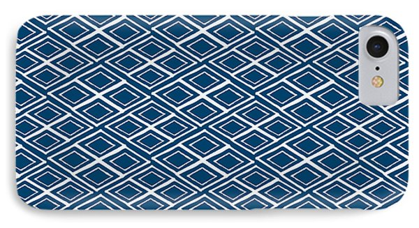 Indigo And White Small Diamonds- Pattern IPhone 7 Case by Linda Woods