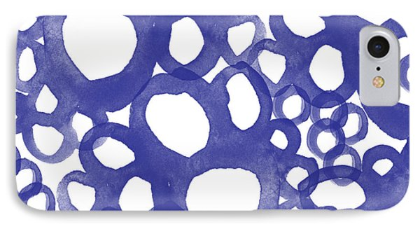 Indigo Bubbles- Contemporary Absrtract Watercolor Phone Case by Linda Woods