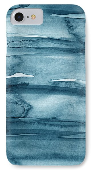 Indigo Water- Abstract Painting IPhone Case by Linda Woods