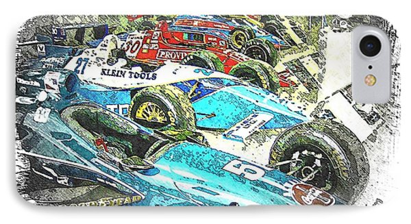 Indy Race Car Line Up IPhone Case by Spencer McKain