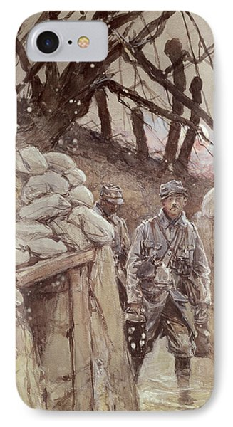 Infantrymen In A Trench, Notre-dame De Lorette, 1915 Wc On Paper IPhone Case by Francois Flameng
