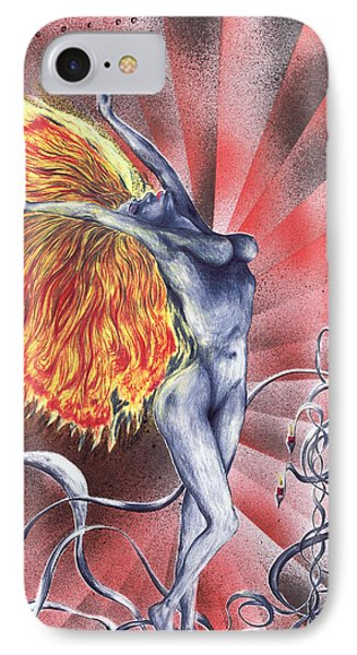 IPhone Case featuring the mixed media Inferno by Kenneth Clarke